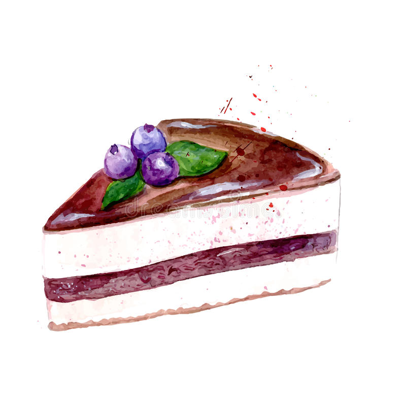 Slice of sweet cake with chocolate icing and blueberry. Vector watercolor dessert illustration. stock illustration