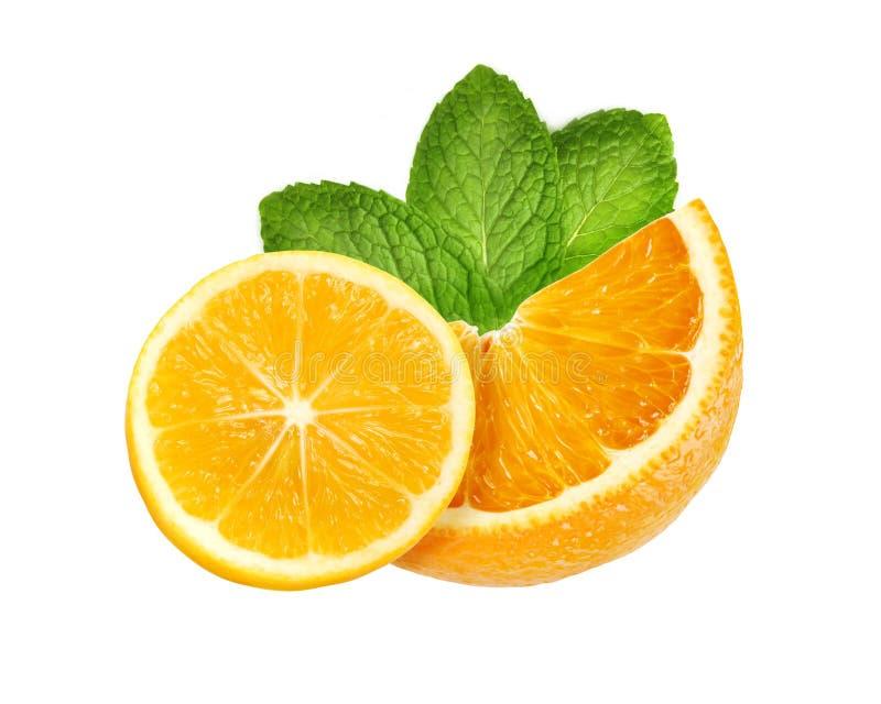 Slice of sweet juicy orange and lemon fruit with mint leaves isolated on white. Background royalty free stock photos