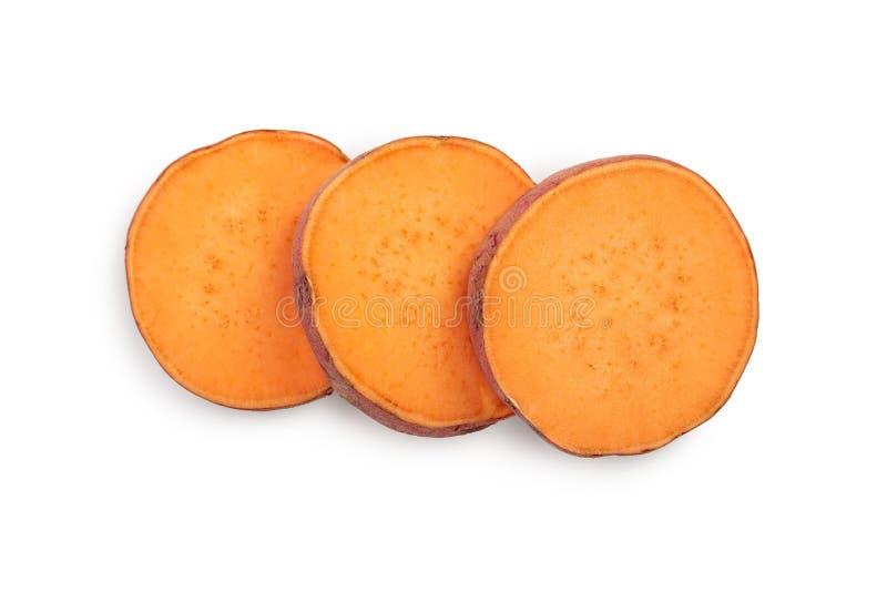 Slice sweet potato isolated on white background closeup. Top view. Flat lay. Slice sweet potato isolated on white background closeup. Top view. Flat lay stock photo