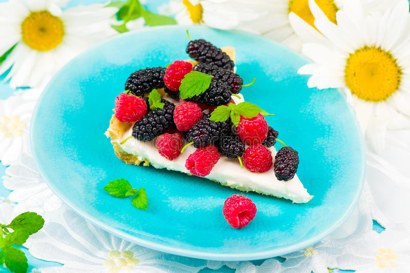 Slice of a tart with fresh berries stock photo