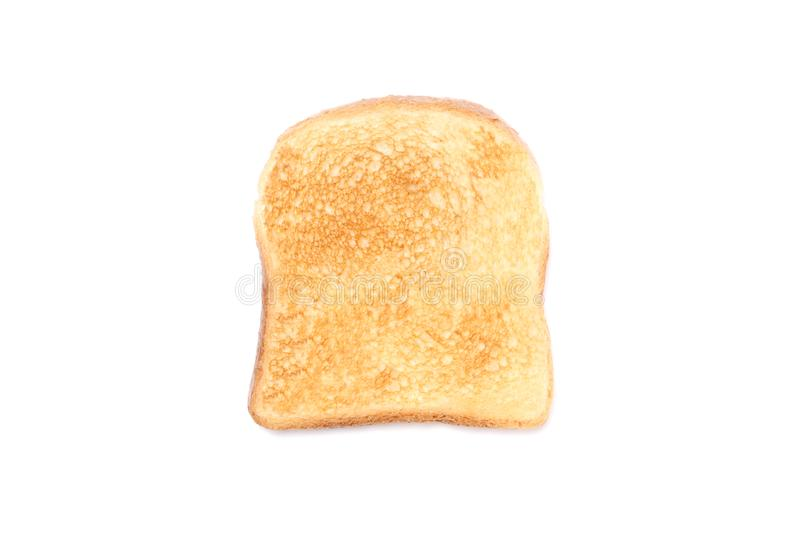 Slice of toasted bread isolated on white background with copy space for your text royalty free stock photo