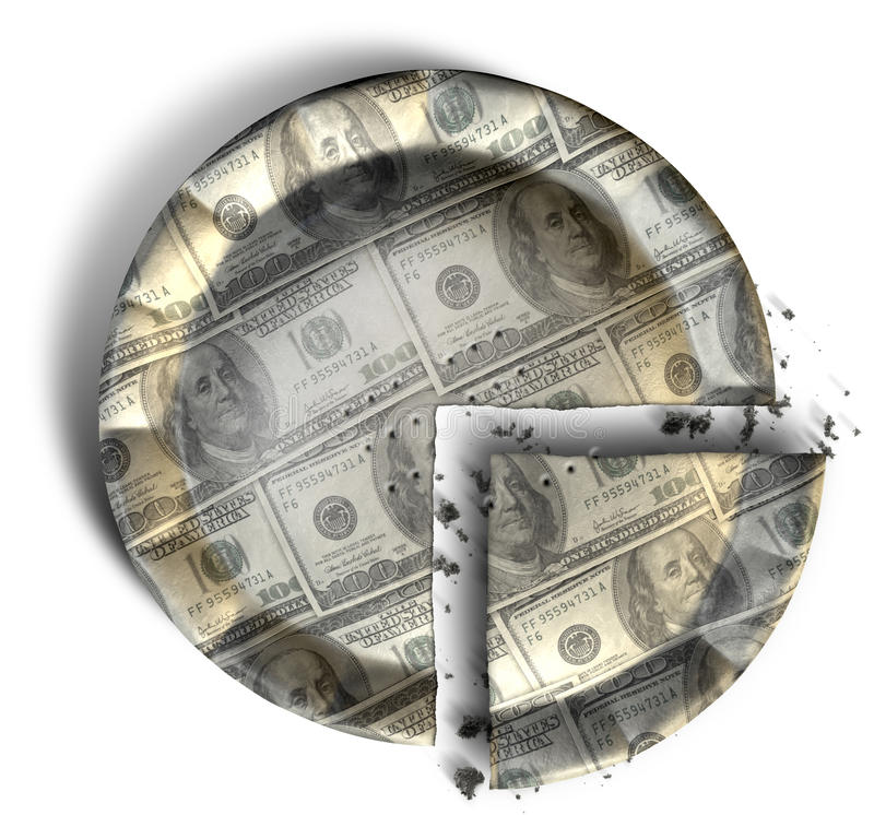 Slice Of US Dollar Money Pie. Sliced section of a regular baked pie with crimped edges made out of US Dollar bank notes on an isolated background royalty free stock photography