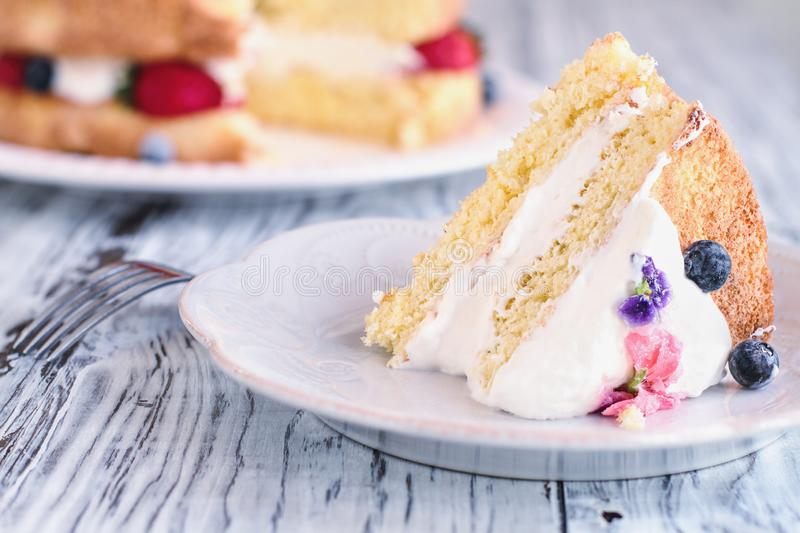 Slice of Victoria Sponge Cake with Whipped Cream royalty free stock photos