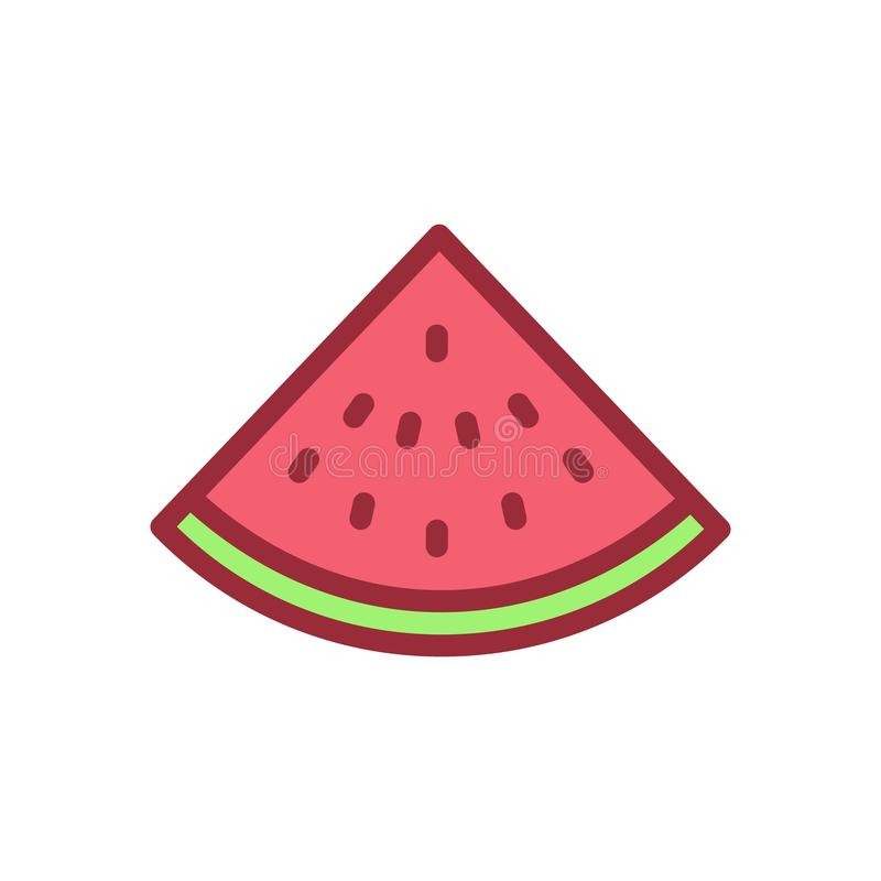 Slice of watermelon icon. Vector filled outline illustration of. A fruit. Delicious watermelon slice royalty free illustration