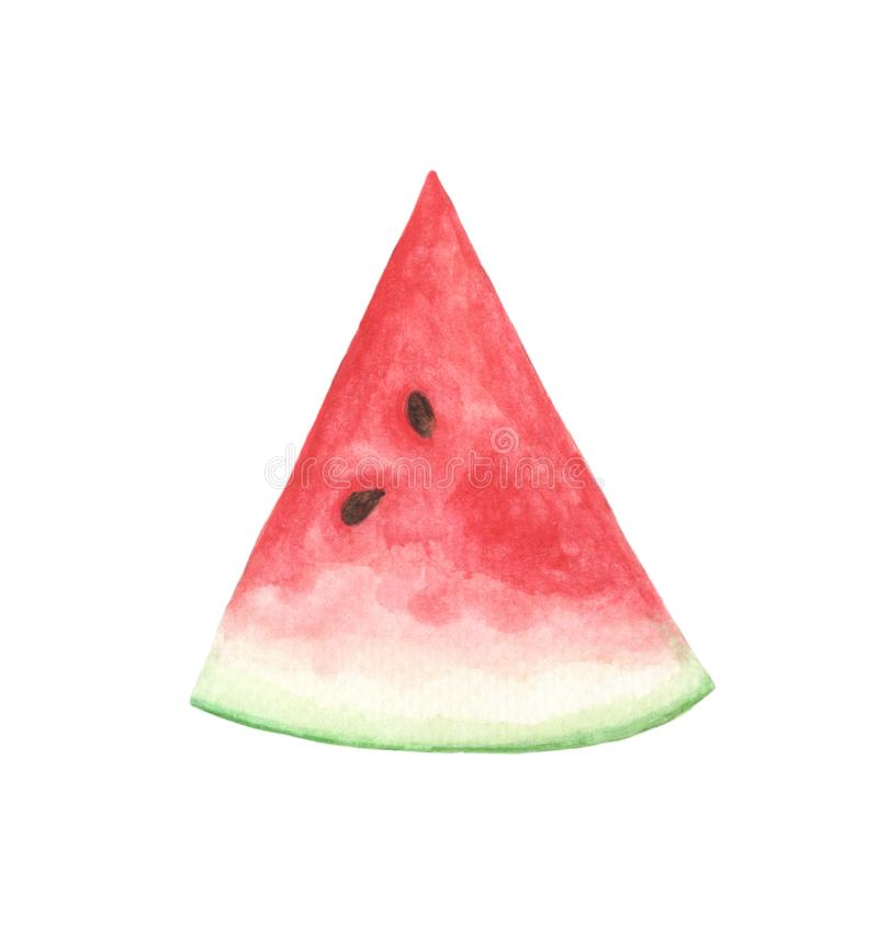 Slice of watermelon isolated on white. Watercolor illustration. Slice of watermelon isolated on white background. Watercolor illustration royalty free illustration