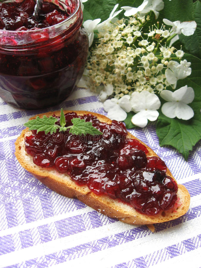 Slice of wheat toast bread with sweet cranberry sauce stock photography