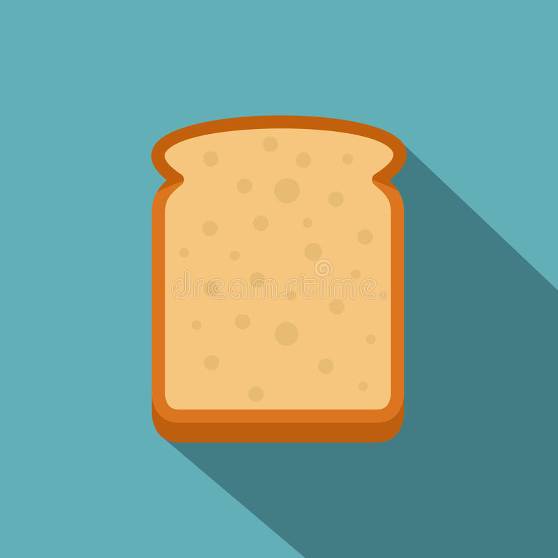 Slice of white bread icon, flat style. Slice of white bread icon. Flat illustration of slice of white bread vector icon for web on baby blue background royalty free illustration