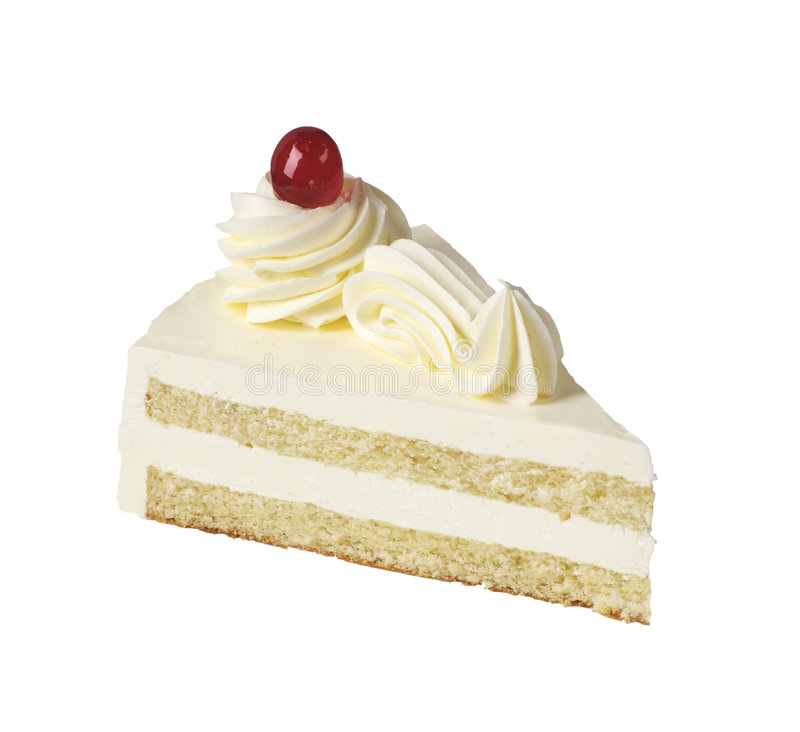 Slice of white cream cake royalty free stock images