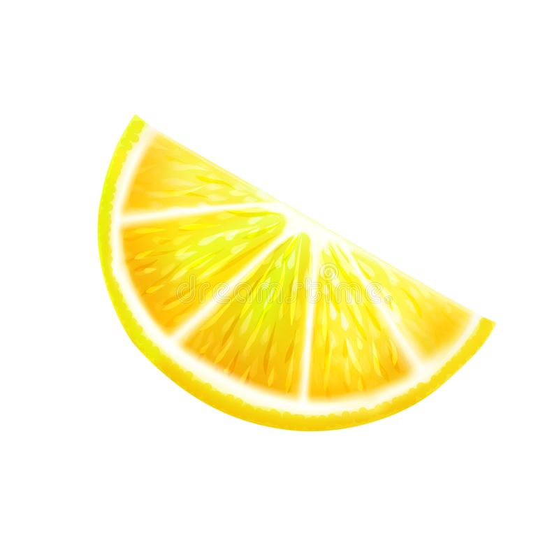 A slice of yellow bright lemon on a white background stock illustration