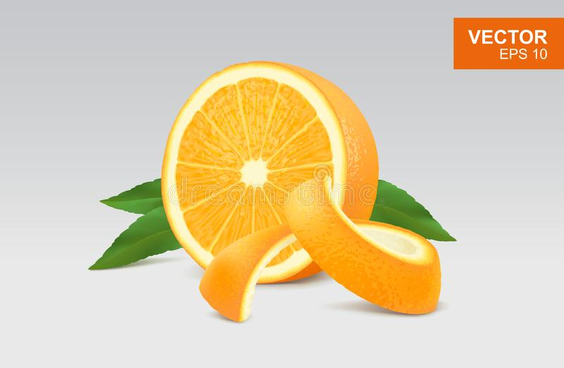 Slice of yellow orange realistic 3D illustration, design element. Half of orange with leaf and peel vector illustration