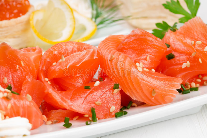 Sliced ​​salmon stock photo