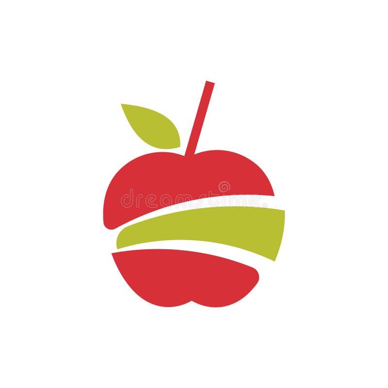 Sliced Apple Cut Juice Pulp Extract Fruit Logo.  stock illustration
