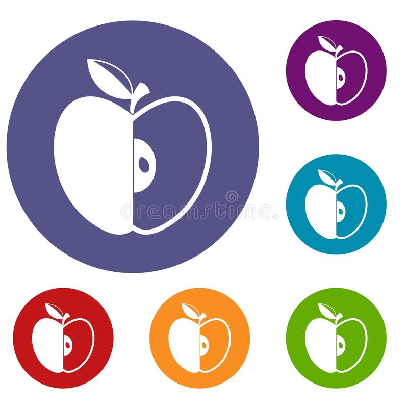 Sliced apple icons set. In flat circle red, blue and green color for web vector illustration
