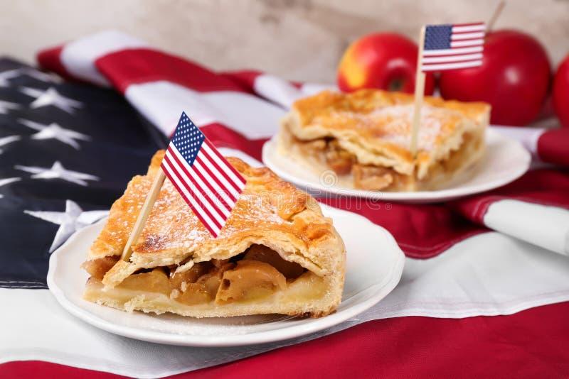 Sliced apple pie royalty free stock photo