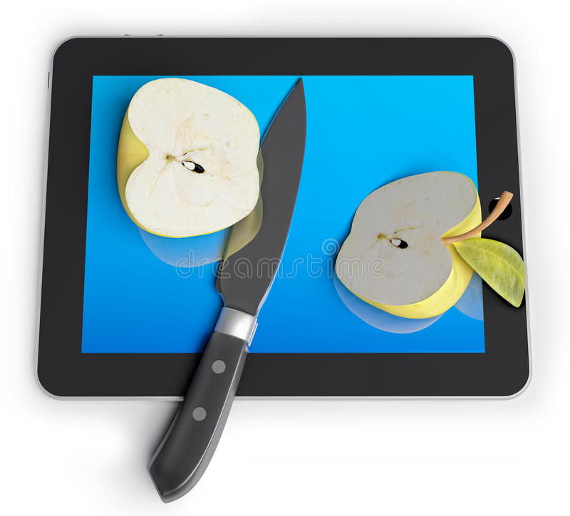 Sliced and apple and tablet. Sliced and apple with a knife on a unrecognizable Tablet PC (3d concept vector illustration