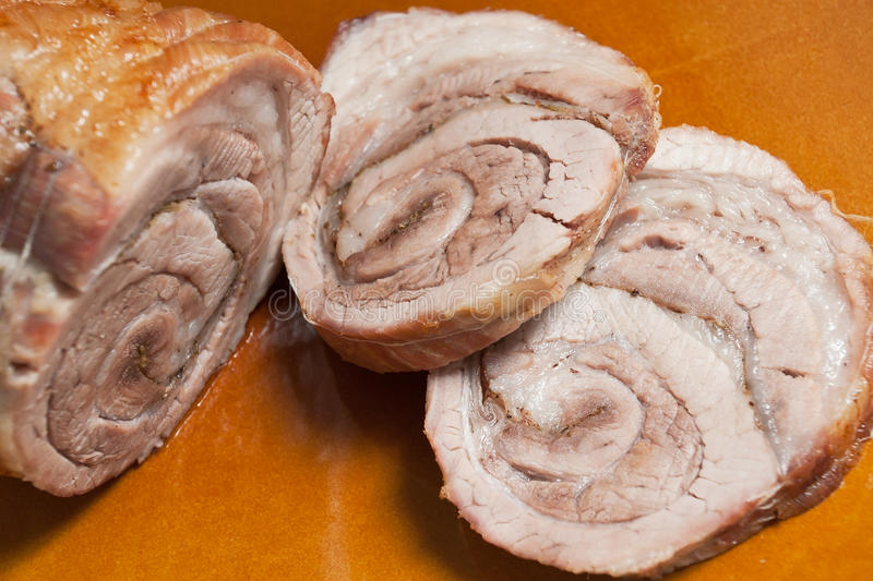 Sliced beef roll stock photo
