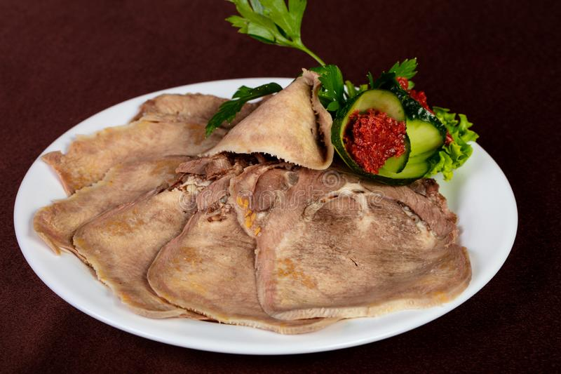 Sliced beef tongue stock image