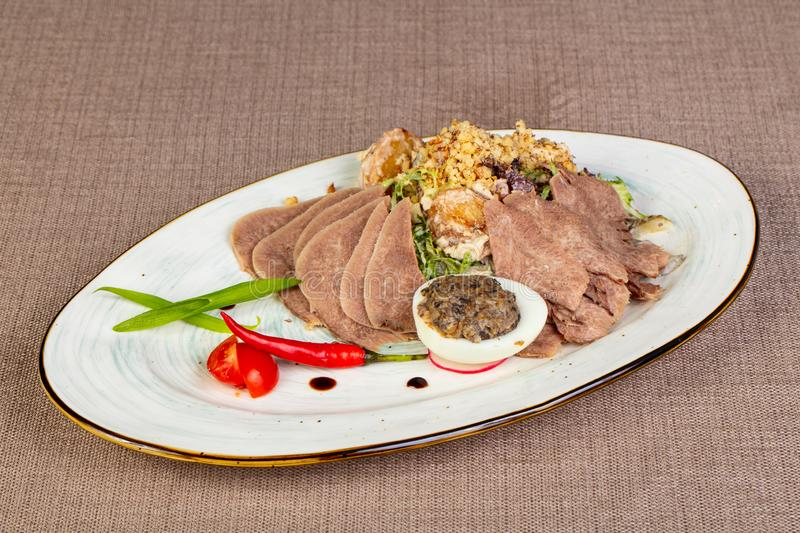 Sliced beef tongue snack stock photo