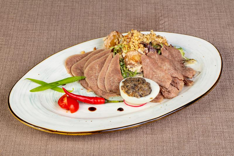 Sliced beef tongue snack stock photography