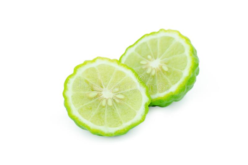 Sliced bergamot isolated on white background with clipping path.  stock image
