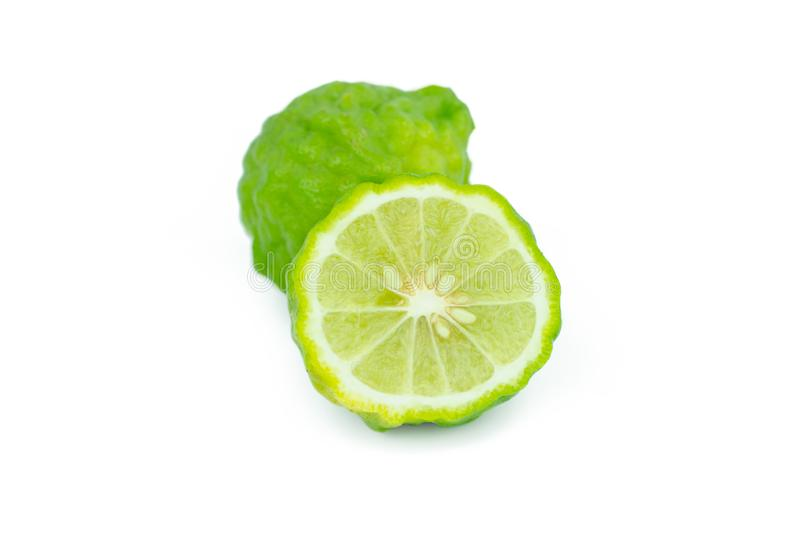 Sliced bergamot isolated on white background with clipping path.  royalty free stock photography