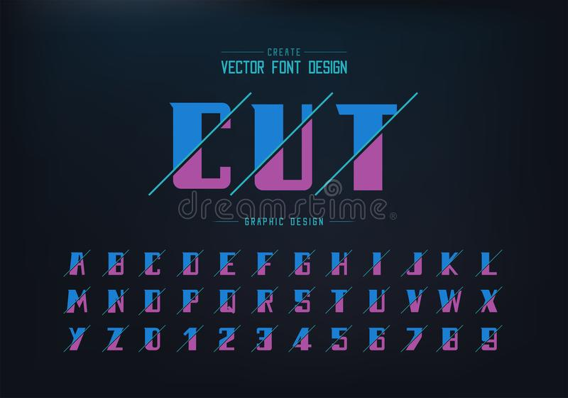 Sliced bold font and alphabet vector, Modern Typeface and letter number design, Graphic text on background vector illustration