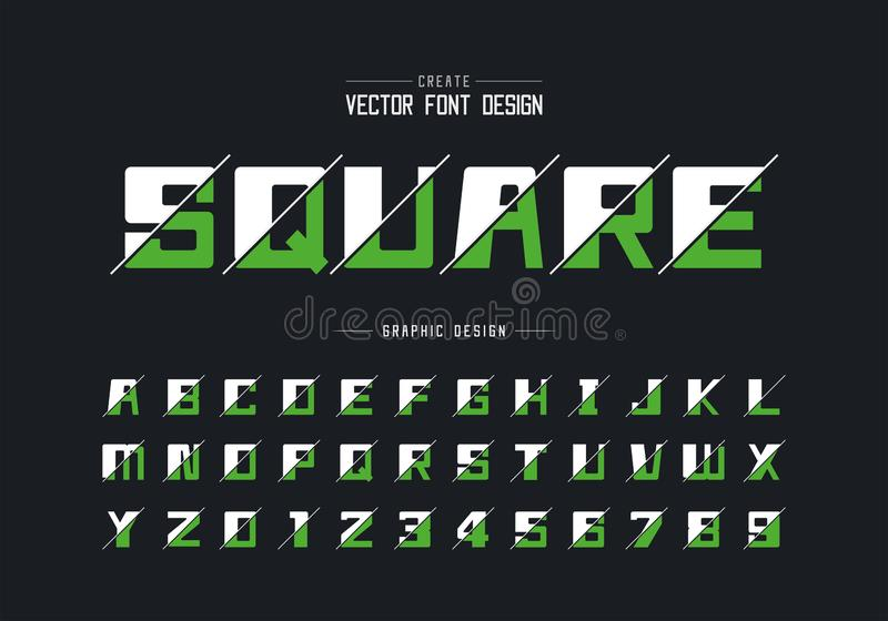Sliced bold Font and alphabet vector, Square typeface letter and number design, Graphic text on background stock illustration