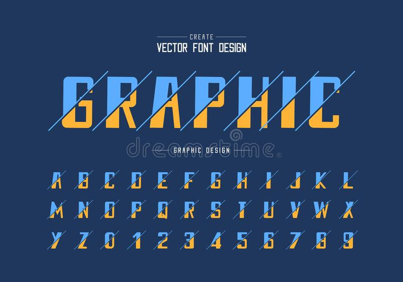 Sliced bold Font and alphabet vector, typeface and number design, Graphic text on background stock illustration