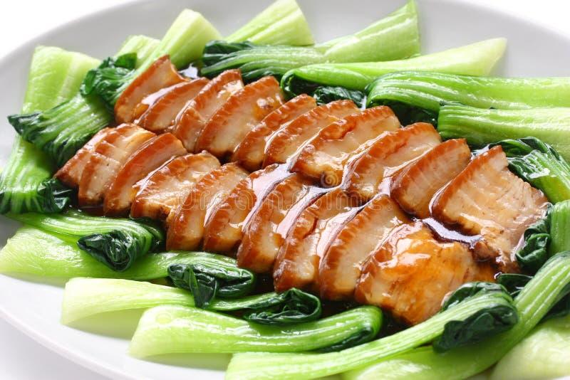 Sliced braised pork belly stock photo