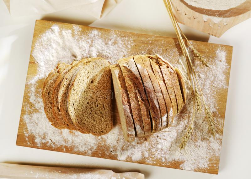 Sliced bread from above stock images
