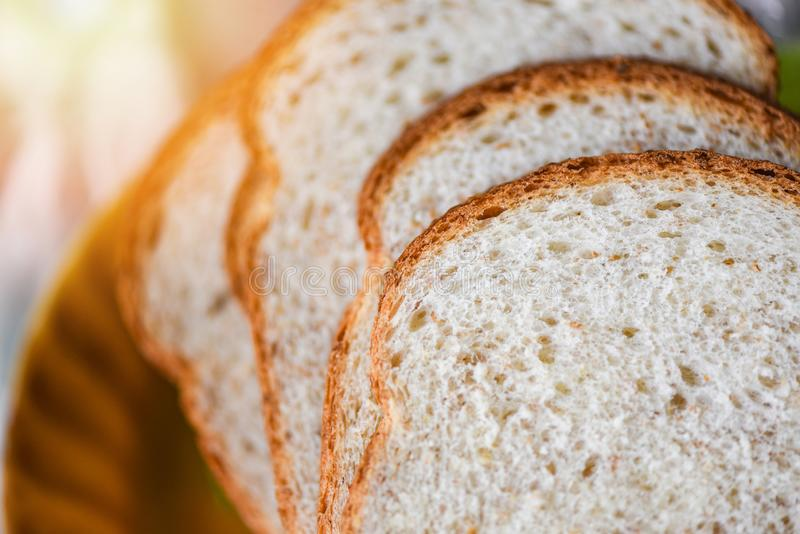 Sliced bread close up top view - Whole wheat bread cut. Sliced bread close up top view / Whole wheat bread cut royalty free stock images