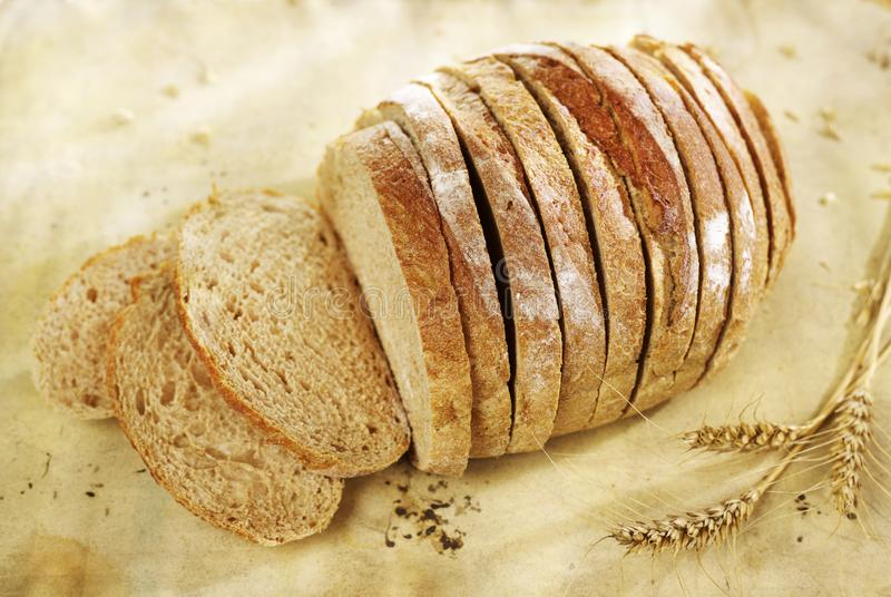 Sliced bread closeup stock images