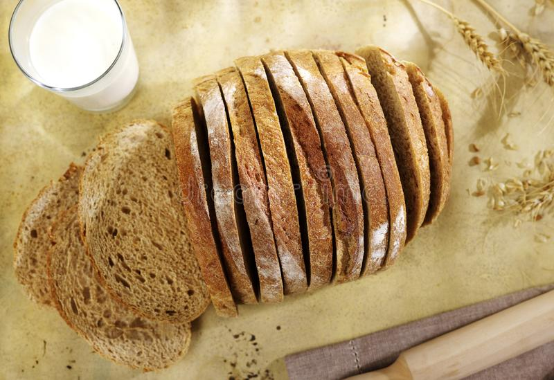 Sliced bread above royalty free stock photos