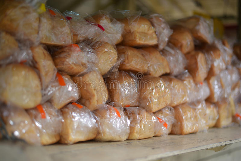Sliced bread in plastic bag, thailand royalty free stock photos