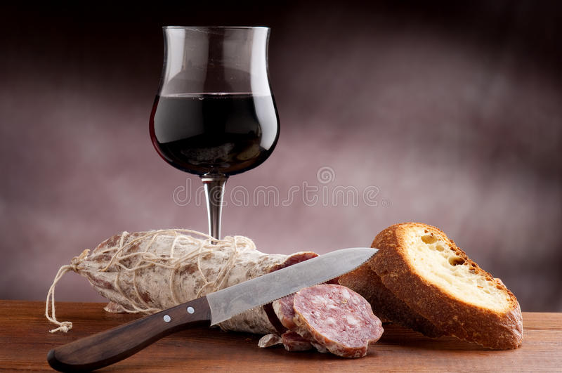 Sliced bread with salami stock photography