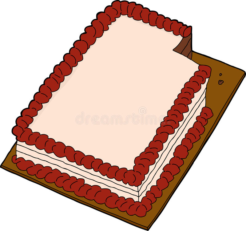 Sliced Cake Over White. Hand drawn fancy sheet cake with missing slice stock illustration