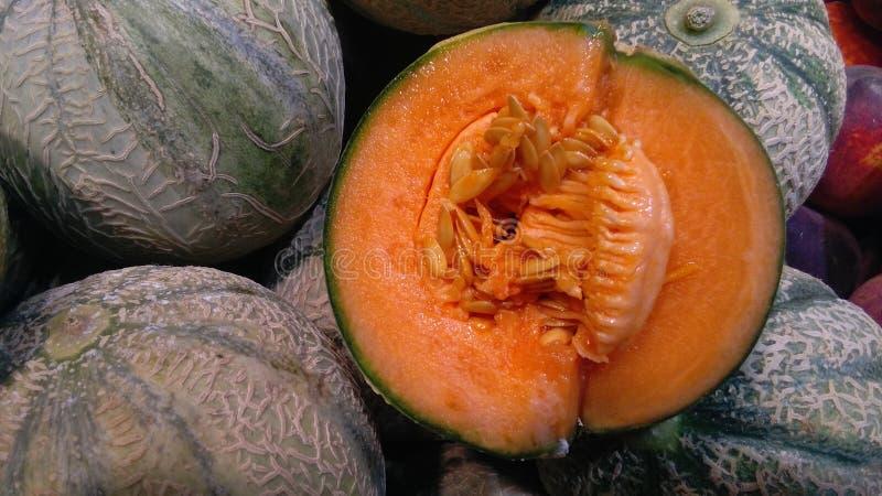 Sliced cantaloupe royalty free stock photo