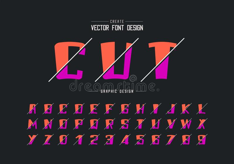 Sliced cartoon font and alphabet vector, Bold typeface and number design, Graphic text on background stock illustration