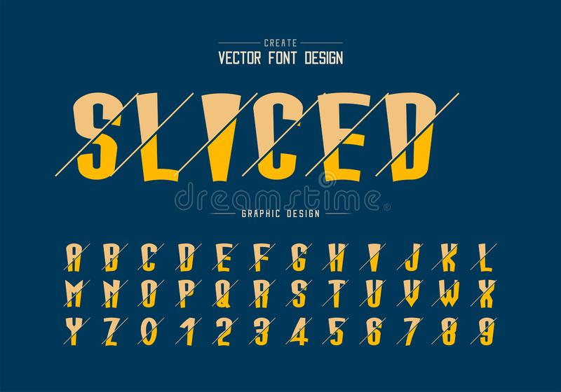 Sliced cartoon font and alphabet vector, Tall typeface letter and number design royalty free illustration