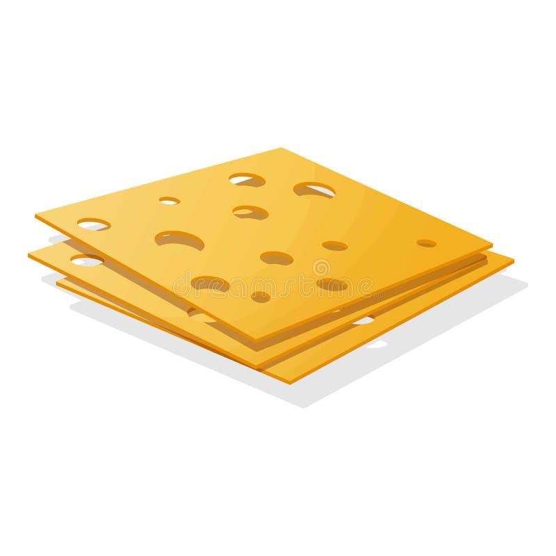 Sliced cheese icon, cartoon style stock illustration