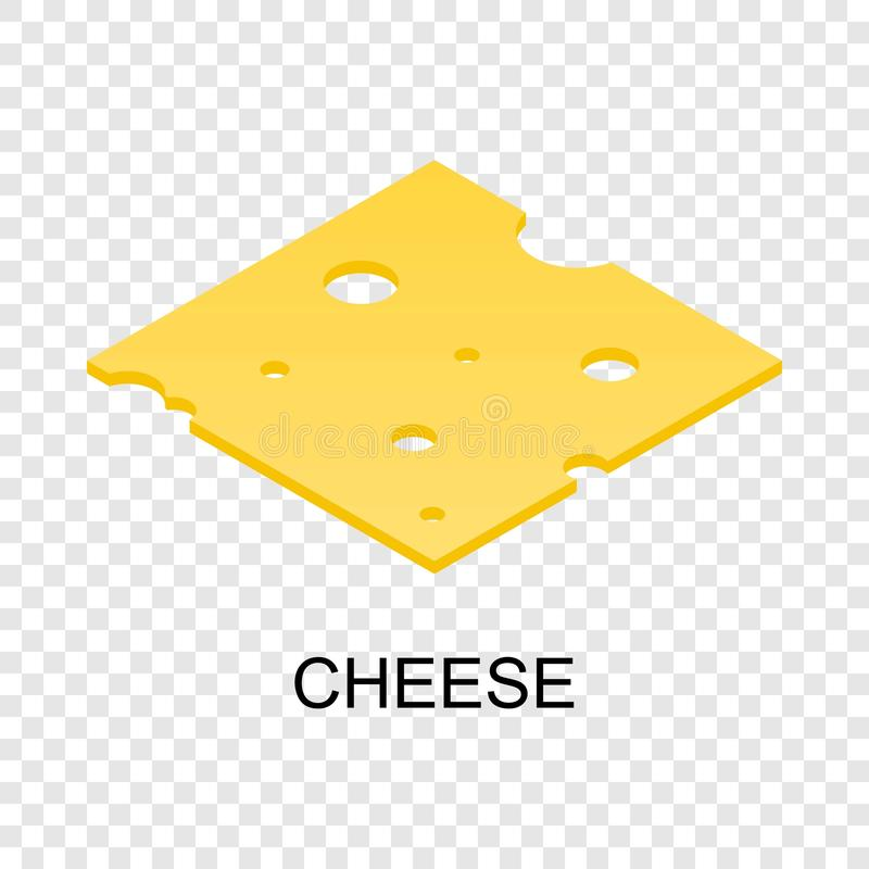 Sliced cheese icon, isometric style. Sliced cheese icon. Isometric of sliced cheese icon for on transparent background royalty free illustration