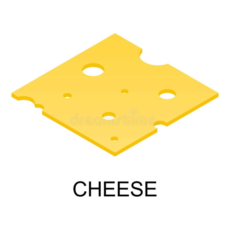 Sliced cheese icon, isometric style vector illustration
