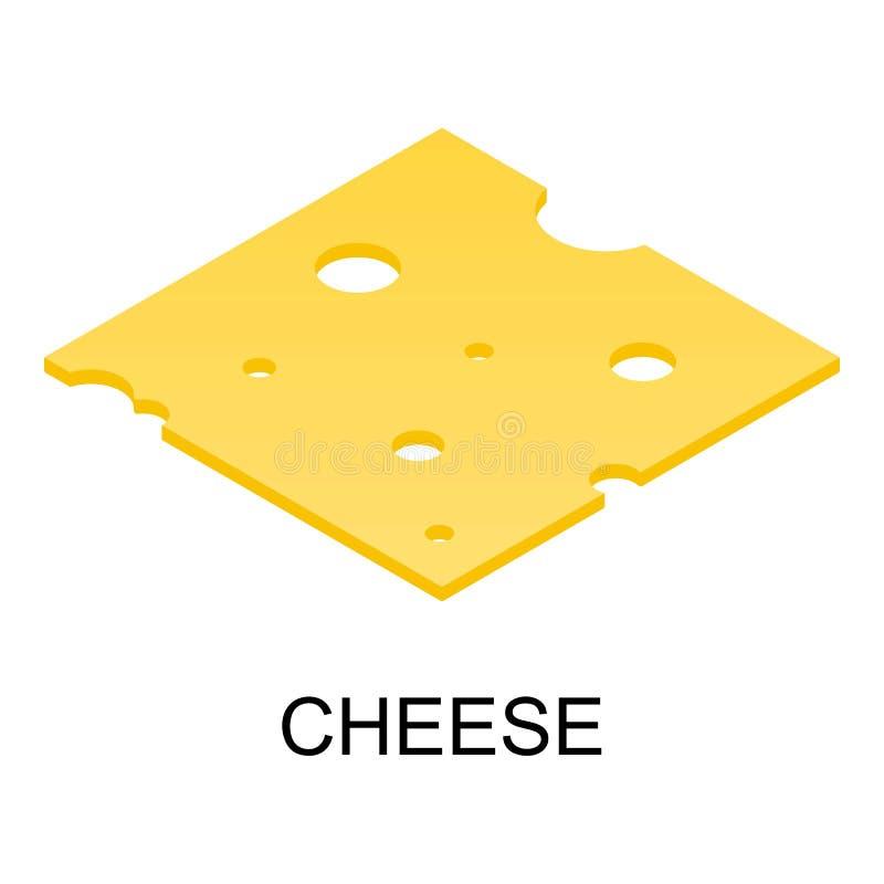 Sliced cheese icon, isometric style stock illustration