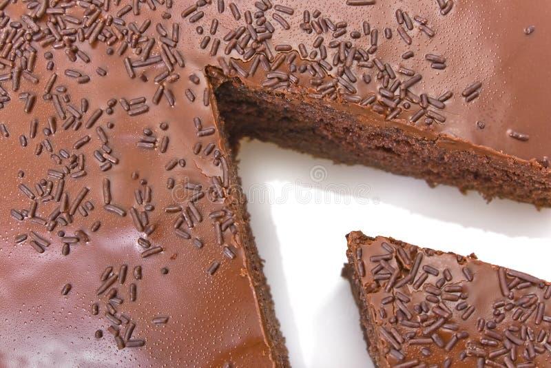 Sliced chocolate fudge cake stock photography