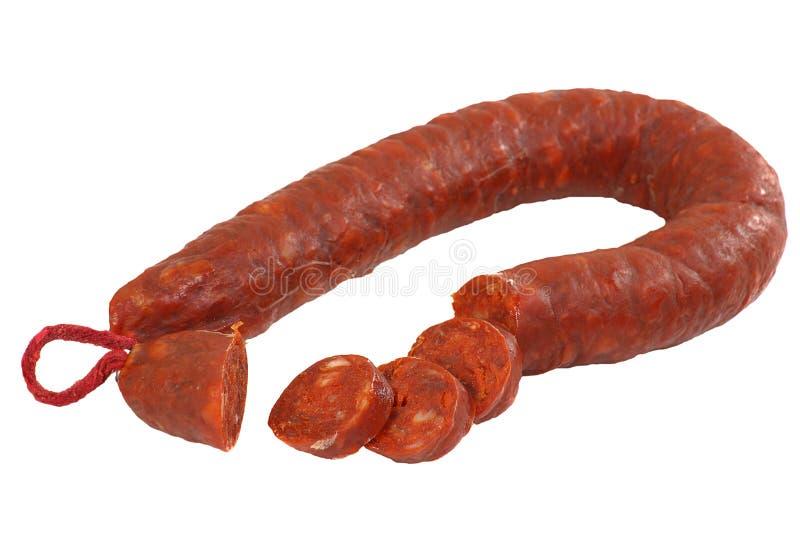 Sliced chorizo royalty free stock photo