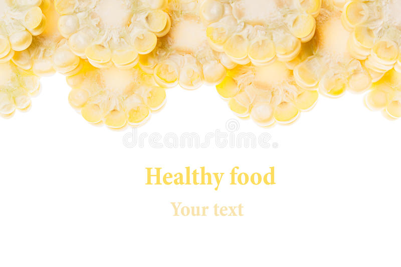 Sliced corn cobs on a white background. Isolated. Decorative frame. Macro. Food background. Copy space. Concept art stock image