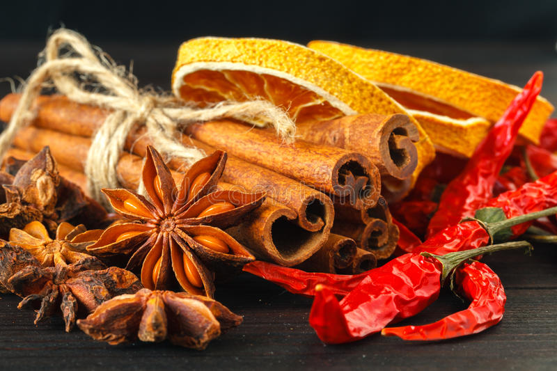 Sliced of dried Orange with cinnamon sticks and Anise royalty free stock photos