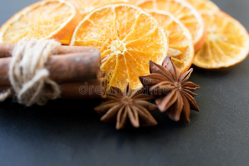 Sliced of dried Orange with cinnamon sticks and Anise royalty free stock images
