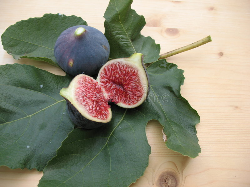 Sliced fig on a leaf stock image