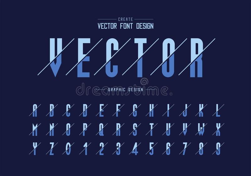 Sliced font and alphabet vector, Tall typeface letter and number design, Graphic text on background stock illustration